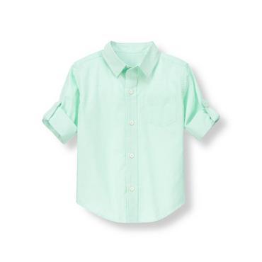 Seafoam Green Stripe Striped Roll Cuff Shirt at JanieandJack