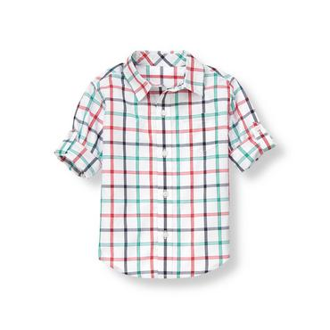 Pure White Plaid Tattersall Roll Cuff Shirt at JanieandJack