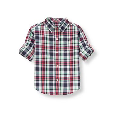 Marine Navy Plaid Plaid Roll Cuff Shirt at JanieandJack