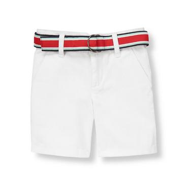 Pure White Striped Belted Short at JanieandJack