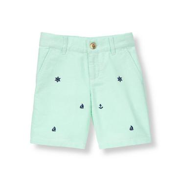 Seafoam Green Sailing Embroidered Oxford Short at JanieandJack
