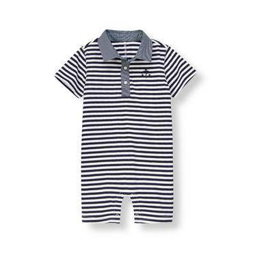 Marine Navy Stripe Anchor Striped One-Piece at JanieandJack