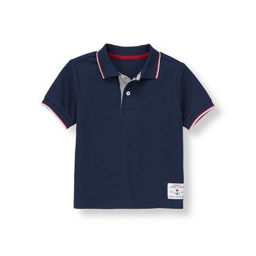 Classic Navy Tipped Pique Polo Shirt at JanieandJack