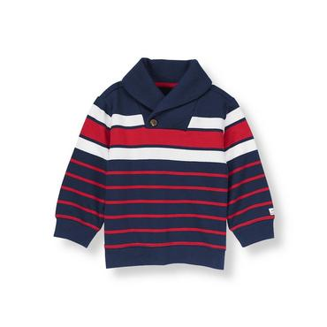 Classic Navy Stripe Striped Shawl Collar Pullover at JanieandJack