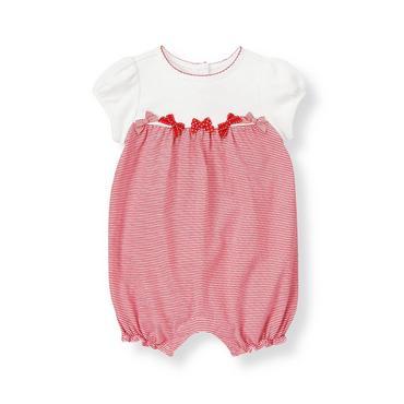 Baby Girl Melon Red Stripe Bow Stripe Knit Bubble at JanieandJack