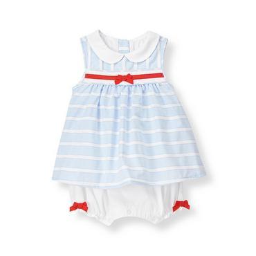 Baby Girl Pale Blue Stripe Stripe Dobby One-Piece at JanieandJack