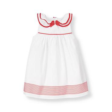 Baby Girl Pure White Ruffle Collar Ribbon Dress at JanieandJack