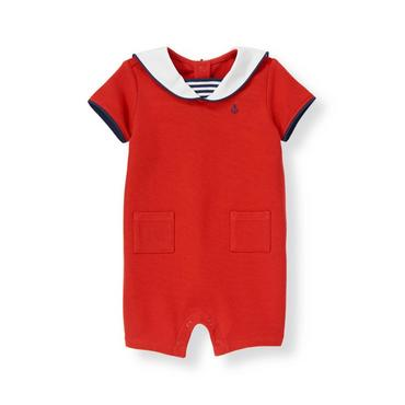 Baby Boy Sailboat Red Sailor Pique One-Piece at JanieandJack