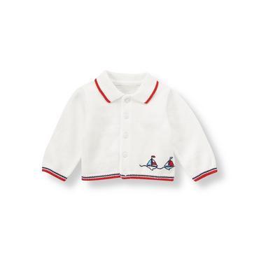 Baby Boy Pure White Sailboat Cardigan at JanieandJack