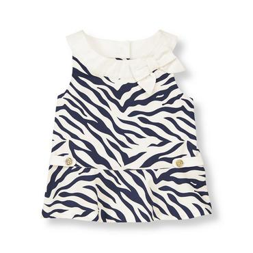 Navy Zebra Bow Zebra Top at JanieandJack