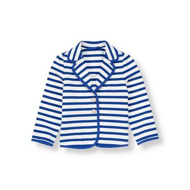 Royal Blue Stripe Stripe Ponte Blazer at JanieandJack