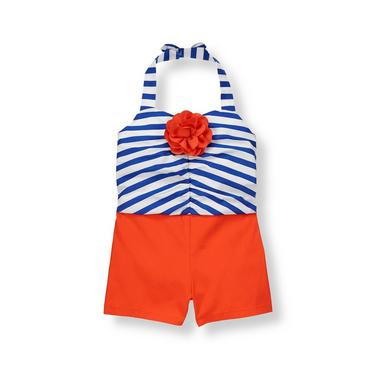 Royal Blue Stripe Corsage Stripe Romper at JanieandJack