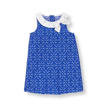 Royal Blue Eyelet Bow Collar Eyelet Dress at JanieandJack