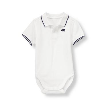 Pure White Rhino Polo Bodysuit at JanieandJack