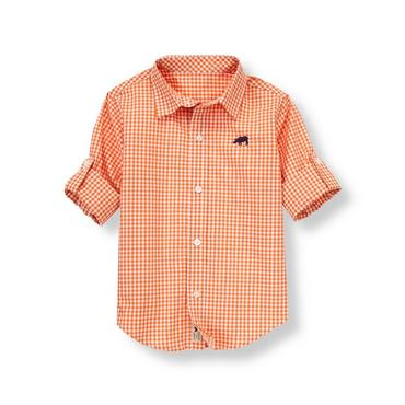 Tiger Orange Check Rhino Gingham Shirt at JanieandJack