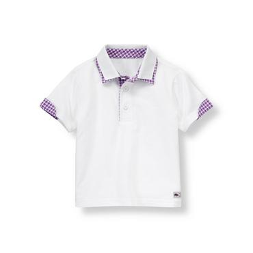 White Double Collar Polo Shirt at JanieandJack
