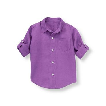 Violet Linen Roll Cuff Shirt at JanieandJack