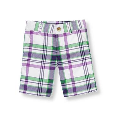 White Plaid Plaid Short at JanieandJack