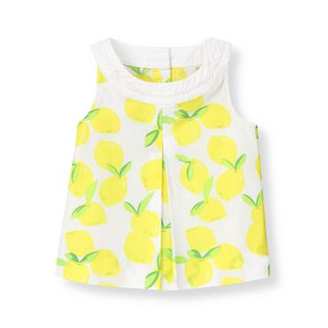 White/Citron Lemon Pleated Lemon Top at JanieandJack