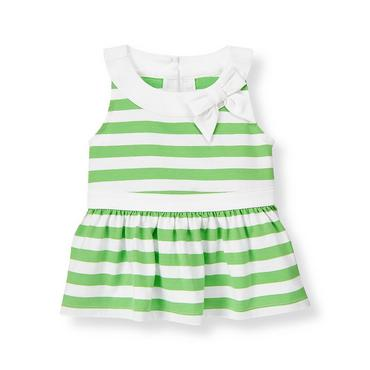 Leaf Green Stripe Bow Stripe Knit Top at JanieandJack