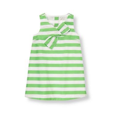 Leaf Green Stripe Stripe Sateen Dress at JanieandJack