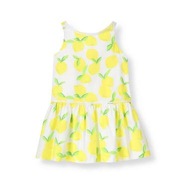 White/Citron Lemon Circle Trim Lemon Dress at JanieandJack