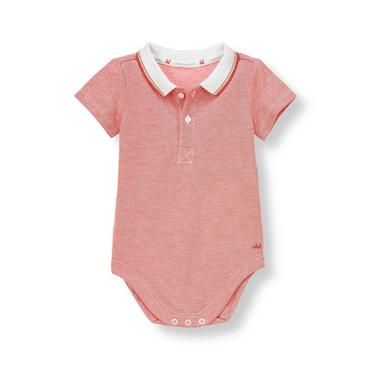 Crab Red Pique Polo Bodysuit at JanieandJack