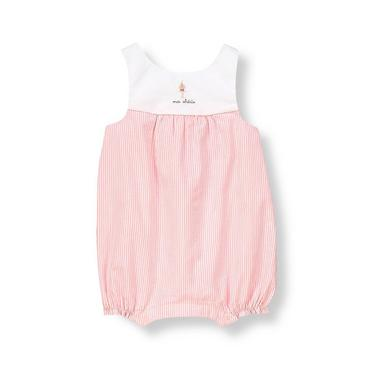 Baby Girl French Pink Stripe Cupcake Striped Seersucker Overall at JanieandJack