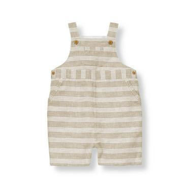 Pebble Brown Stripe Striped Linen Blend Shortall at JanieandJack