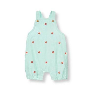 Turquoise Stripe Crab Striped Overall at JanieandJack
