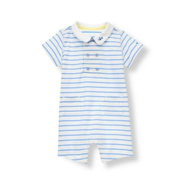 Baby Boy White Stripe Fish Stripe One-Piece at JanieandJack