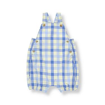 Sea Blue Plaid Plaid Overall at JanieandJack