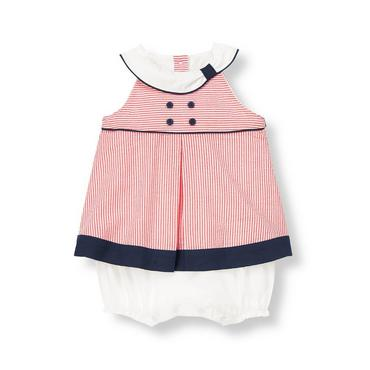 Baby Girl American Red Stripe Striped Seersucker One-Piece at JanieandJack