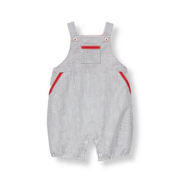 Chambray Blue Stripe Striped Seersucker Shortall at JanieandJack