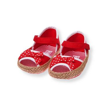 Melon Red Dot Bow Crib Espadrille at JanieandJack