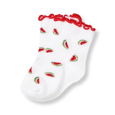 White Watermelon Watermelon Sock at JanieandJack