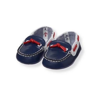 Baby Boy Nautical Navy Boat Crib Shoe at JanieandJack
