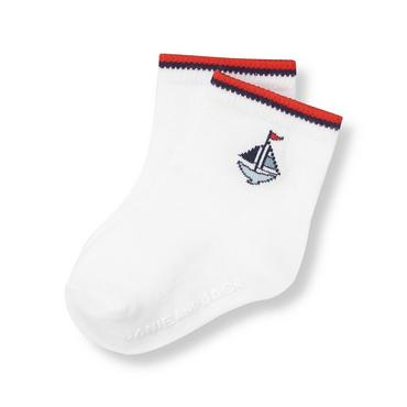 Baby Boy Pure White Sailboat Sock at JanieandJack