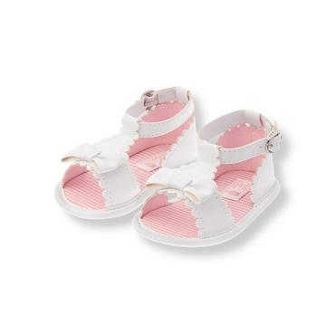 Pure White Scalloped Crib Sandal at JanieandJack