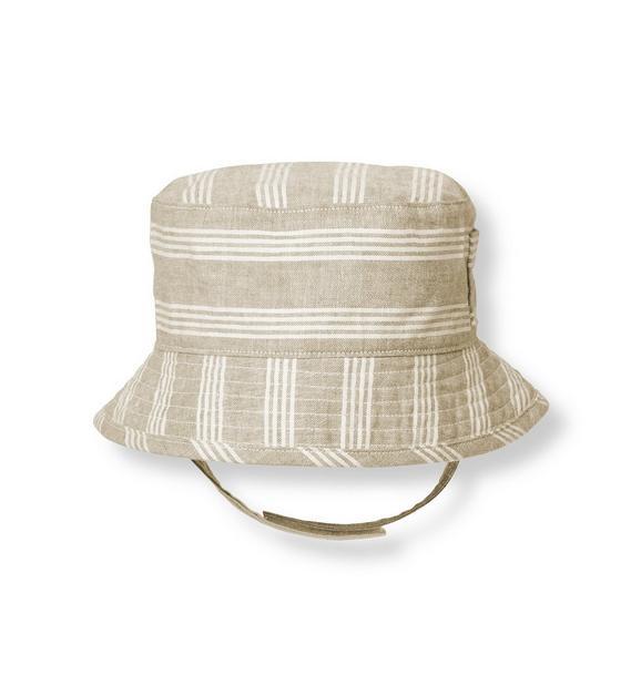 Striped Linen Blend Bucket Hat