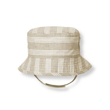 Baby Boy Pebble Brown Stripe Striped Linen Blend Bucket Hat at JanieandJack