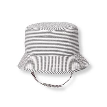Baby Boy Chambray Blue Stripe Striped Seersucker Bucket Hat at JanieandJack