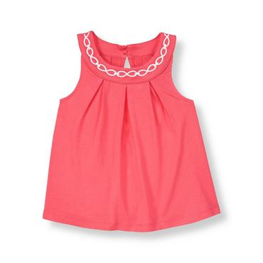 Rosy Pink Embroidered Top at JanieandJack