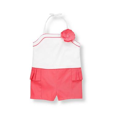 Pure White Rosette Colorblock Romper at JanieandJack