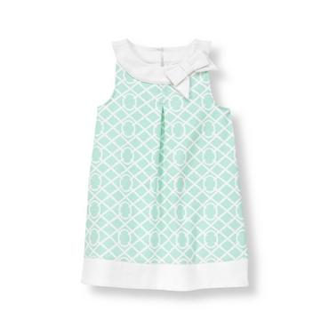 Morning Mint Tile Print Ponte Dress at JanieandJack