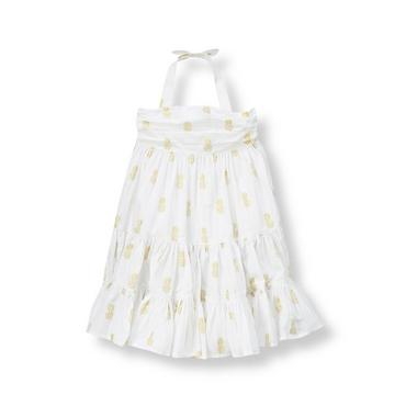 Pure White Metallic Pineapple Print Dress at JanieandJack
