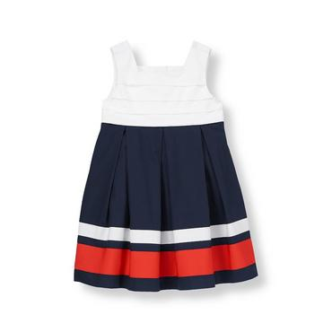 Classic Navy Ribbon Colorblock Dress at JanieandJack