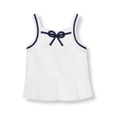 Pure White Sailing Knot Pique Top at JanieandJack