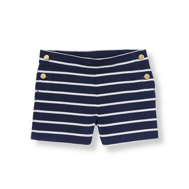 Rope Navy Stripe Sailing Striped Canvas Short at JanieandJack