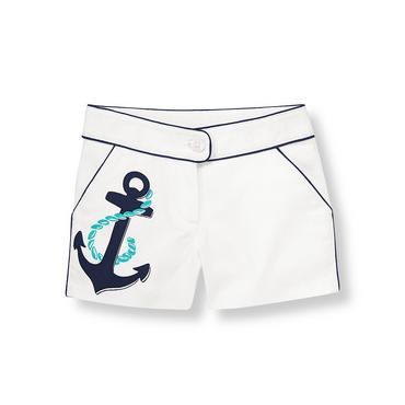 Pure White Anchor Canvas Short at JanieandJack